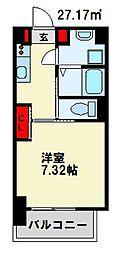 仮) 折尾4丁目マンション 2階1Kの間取り