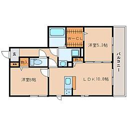 近鉄生駒線 一分駅 徒歩1分の賃貸アパート 2階2LDKの間取り