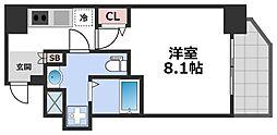エグゼ堺筋本町 3階1Kの間取り