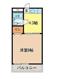 カレッジハウス[2-D号室]の間取り