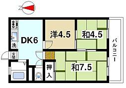 奈良県奈良市南京終町1丁目の賃貸マンションの間取り