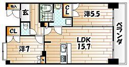 ルワージュ八幡駅前I[13階]の間取り