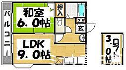福岡県春日市弥生2丁目の賃貸アパートの間取り