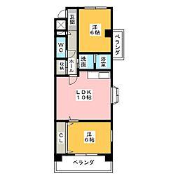 ラピス虹ヶ丘[2階]の間取り