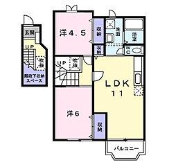リバーサイド門B[2階]の間取り