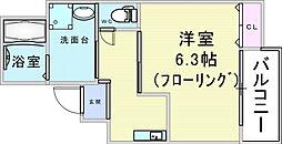 エム・ステージ新大阪 2階1Kの間取り
