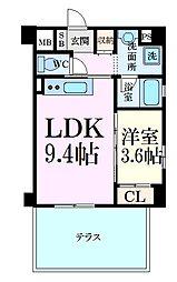 阪神本線 芦屋駅 徒歩6分の賃貸マンション 1階1LDKの間取り