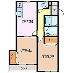 松本台セントラル[2階]の間取り