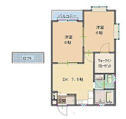 東京都清瀬市中清戸4丁目の賃貸アパートの間取り