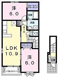 東京都青梅市今井3丁目の賃貸アパートの間取り