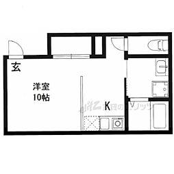 HOTEL AMARANTHUS京都五条 1階ワンルームの間取り
