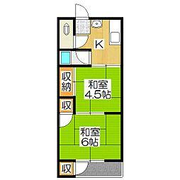 ハイツ洛風荘[2階]の間取り