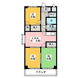 クレアールK2[3階]の間取り