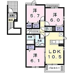 フォンテーヌ 2階3LDKの間取り
