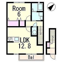 フラッツレディアンスA[2階]の間取り