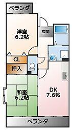 ジーナス甲子園口[2階]の間取り