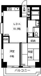 コミュニオン佼徳 4階2LDKの間取り