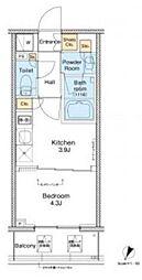東急池上線 戸越銀座駅 徒歩4分の賃貸マンション 6階1Kの間取り