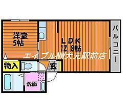 岡山県岡山市中区国富丁目なしの賃貸アパートの間取り
