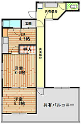 二宮西山マンション[4階]の間取り