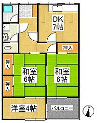 ひばり荘アパート[2階]の間取り