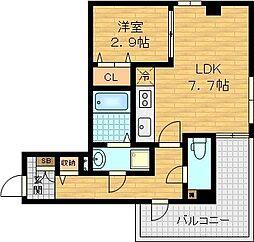 京阪本線 土居駅 徒歩3分の賃貸マンション 3階1LDKの間取り