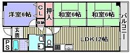 大阪府岸和田市西之内町の賃貸マンションの間取り