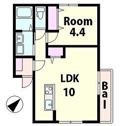 仮称)水口町山新築アパート[2階]の間取り