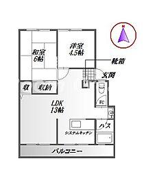 岡津マンション1[1階]の間取り