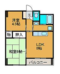 スクエアK3[1階]の間取り