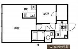 都営新宿線 曙橋駅 徒歩5分の賃貸マンション 1階1DKの間取り
