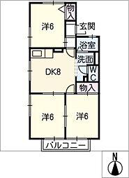 ファミール京町 A[2階]の間取り