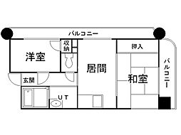 オルゴグラート札幌 2階2DKの間取り