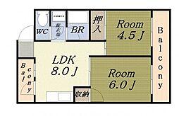 サンハイムホシバ 4階2LDKの間取り