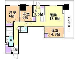 ザ・グランアルト札幌 苗穂ステーションタワー 9階3LDKの間取り