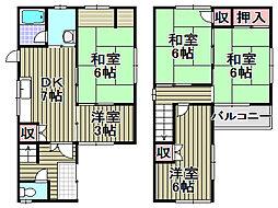 男里7丁目戸建 1階5DKの間取り