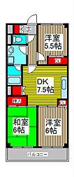 ラ・ティーグル[6階]の間取り