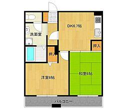 兵庫県伊丹市伊丹1丁目の賃貸マンションの間取り