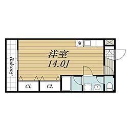 JR成田線 成田駅 徒歩20分の賃貸アパート 2階ワンルームの間取り