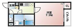 大阪府大阪市生野区巽南5丁目の賃貸アパートの間取り