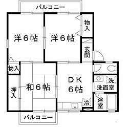 大阪府八尾市北木の本5丁目の賃貸アパートの間取り