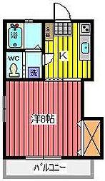 埼玉県川口市南鳩ヶ谷5丁目の賃貸アパートの間取り