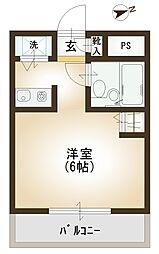 シンフォニー小手指 シングル向け設備充実のマンション[205号室]の間取り