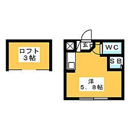 REAL BLOOSSOMII芝田 2階1Kの間取り
