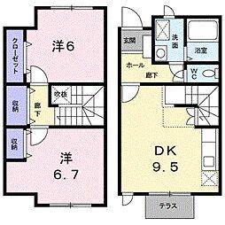 富山県富山市本郷町3区の賃貸アパートの間取り