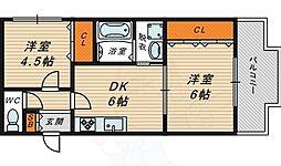 Osaka Metro今里筋線 新森古市駅 徒歩2分の賃貸マンション 4階2DKの間取り