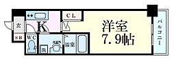 S-RESIDENCE西天満Grand Jour 2階1Kの間取り