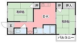 兵庫県西宮市甲子園口5丁目の賃貸アパートの間取り