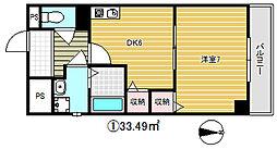 大阪府大阪市東成区大今里南3丁目の賃貸マンションの間取り