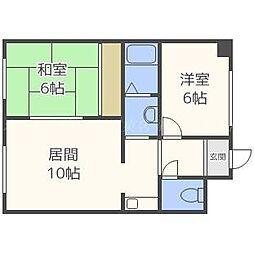 北海道札幌市東区北三十条東9丁目の賃貸マンションの間取り